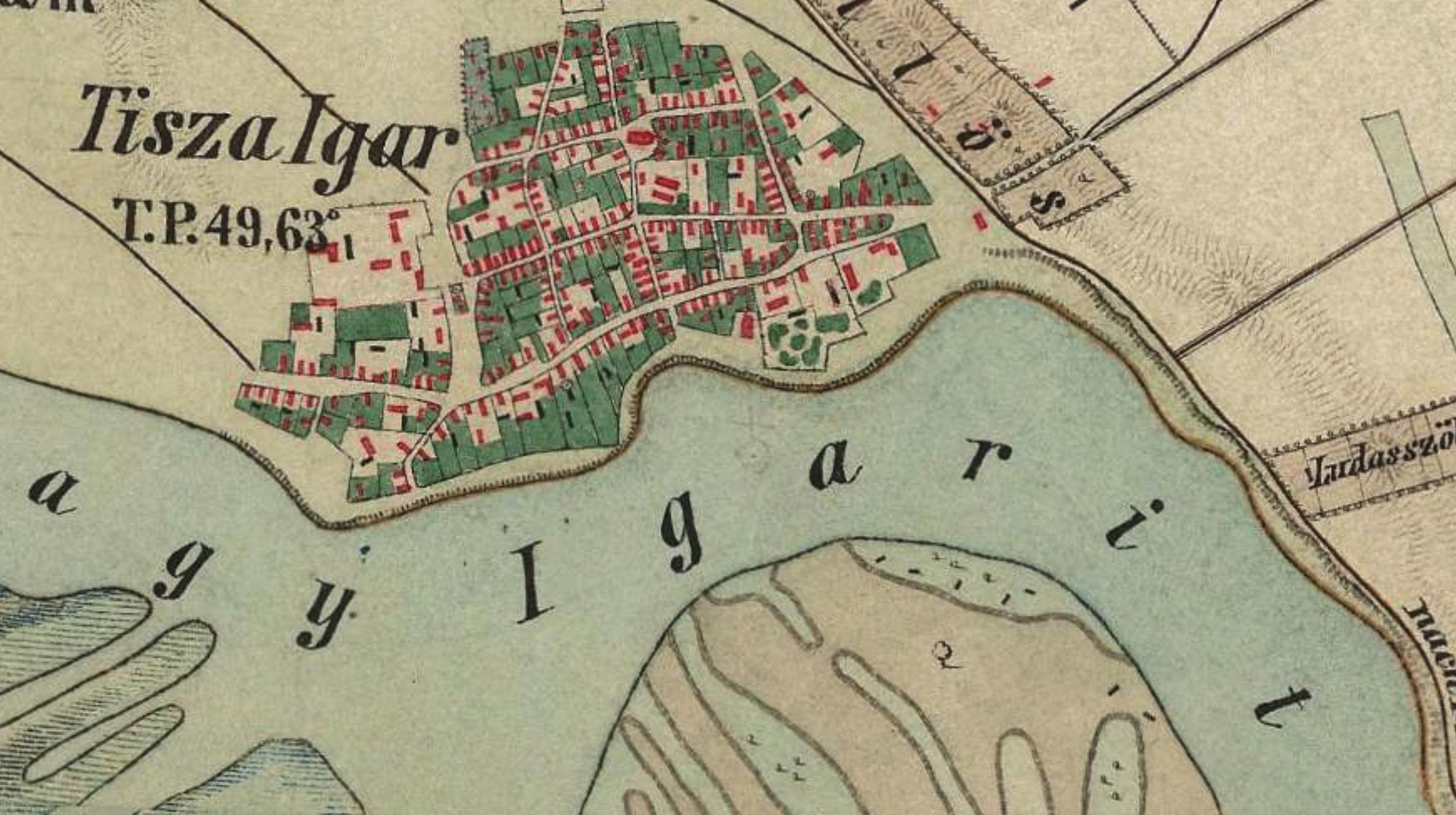 Tiszaigari Mártyás-fa - Második katonai felmérés térképen